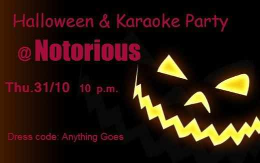 Promotional image for the Halloween Party and Karaoke night at Notorious Mykonos on October 31