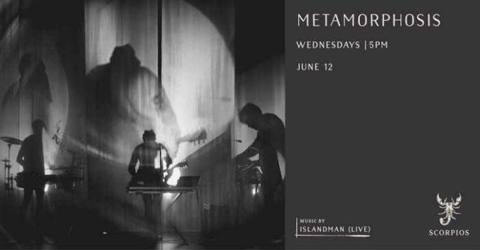 Promotional image for the June 12 Metamorphosis ritual hosted by Islandman at Scorpios Mykonos