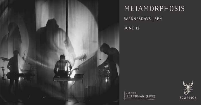Promotional image for the June 12 Metamorphosis ritual hosted by Islandman at Scorpios Mykonos