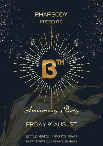 Rhapsody Bar Mykonos 13th Anniversary party on Friday August 9