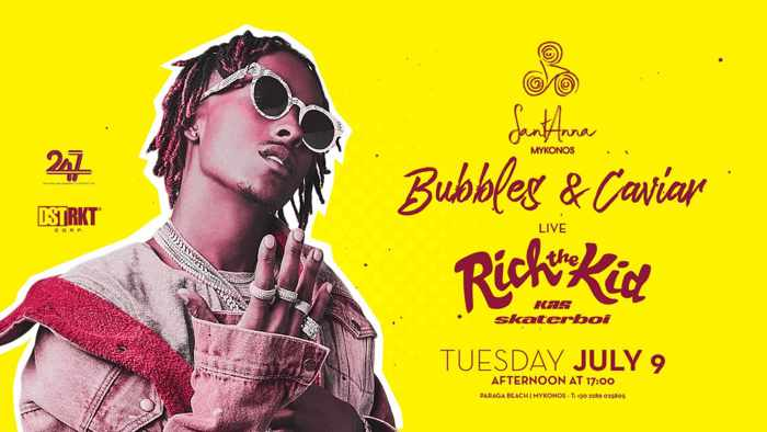 Advertisement for the live show featuring Rich the Kid at SantAnna Mykonos on July 9