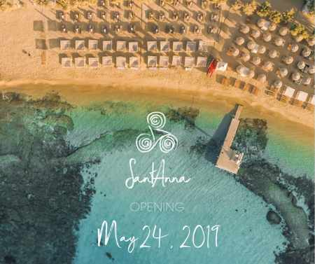 2019 season opening announcement for SantAnna beach club Mykonos