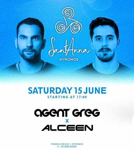 Promotional ad for DJs Agent Greg and ALceen at SantAnna Mykonos June 2019