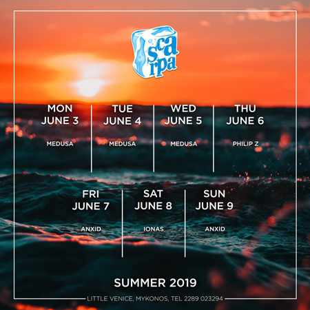 Scarpa Bar Mykonos DJ schedule for June 2019