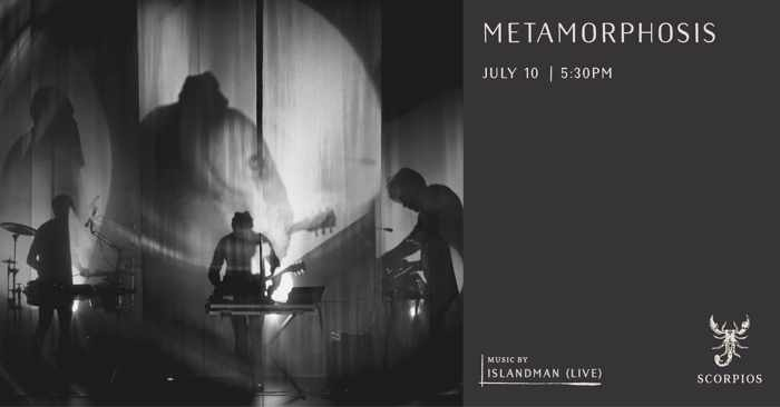 Promotional ad for the Metamorphosis event at Scorpios Mykonos on July 10
