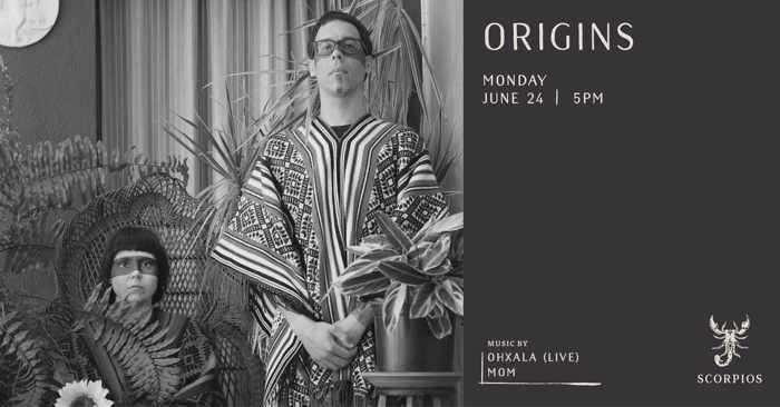 Promotional image for the June 24 Origins music event at Scorpios Mykonos