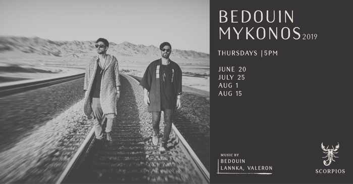 Promo ad for the Bedouin Mykonos 2019 events at Scorpios Mykonos