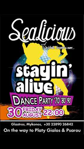 Sealicious Mykonos Stayin Alive dance party advertisement