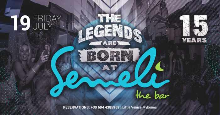 Announcement for Semeli Bar Mykonos 15th anniversary party Friday July 19