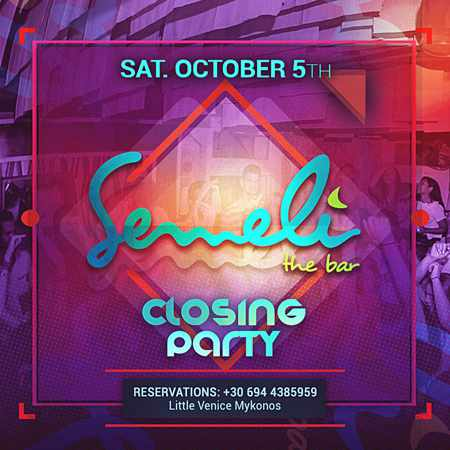 Semeli Bar Mykonos 2019 season closing party announcement