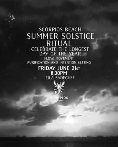 Promotional image for the Summer Solstice Ritual at Scorpios Mykonos June 21 2019