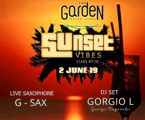 Promo flyer for the Sunset Vibes party at The Garden of Mykonos June 2