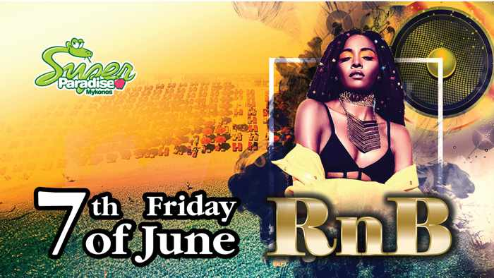 Promotional image for Super Paradise Beach Club Mykonos RnB Friday parties summer 2019