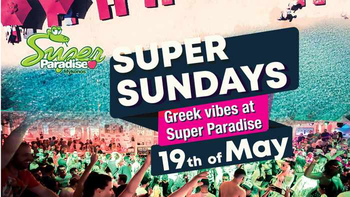 May 19 Greek Vibes party at Super Paradise beach club