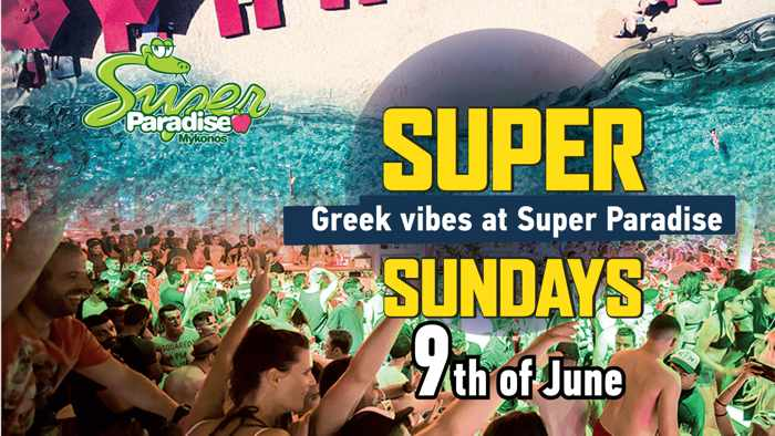 Promotional image for June 9 Greek Vibes party at Super Paradise Beach Club Mykonos