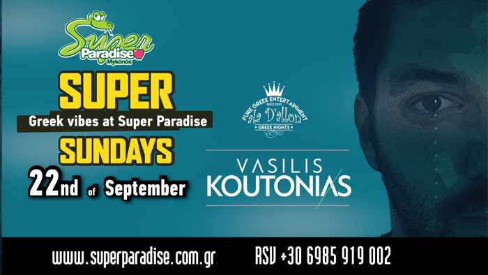 Super Paradise beach club Mykonos Super Sunday party with DJ Vasilis Koutonias on September 22