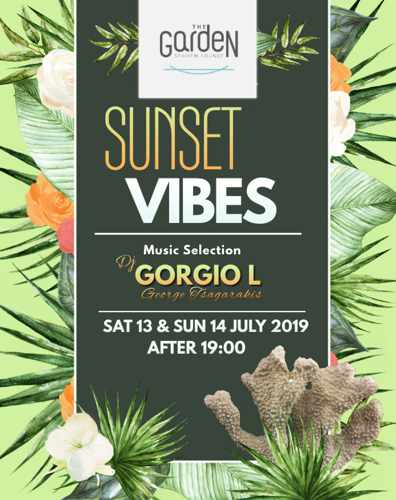 The Garden of Mykonos sunset vibes events on July 13 and 14