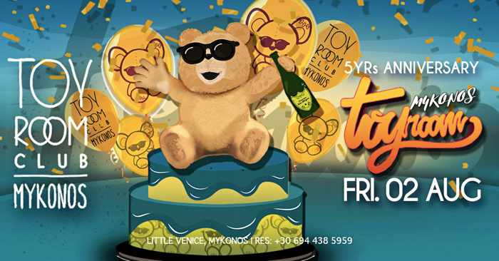Toy Room Club Mykonos 5 year anniversary party on Friday August 2