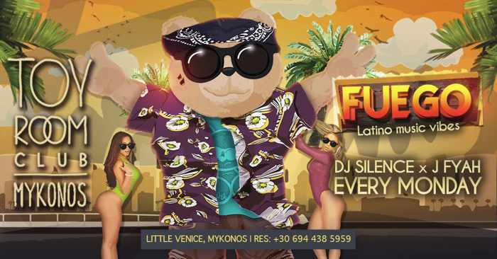 Promotional image for Toy Room Club Mykonos Fuego Latin parties summer 2019