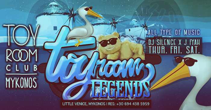 Promotional image for Toy Room Club Mykonos Legends parties during summer 2019