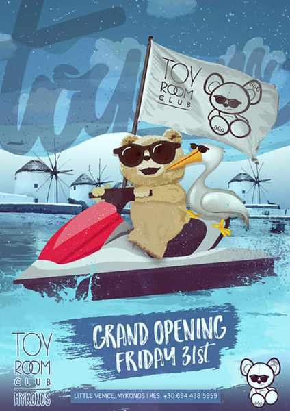 Toy Room Club Mykonos promo ad for its 2019 season opening