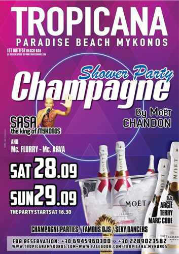 Tropicana Mykonos Champagne Showers parties September 28 and 29