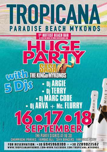Tropicana Mykonos Huge Party with 5 DJs September 16 17 & 18