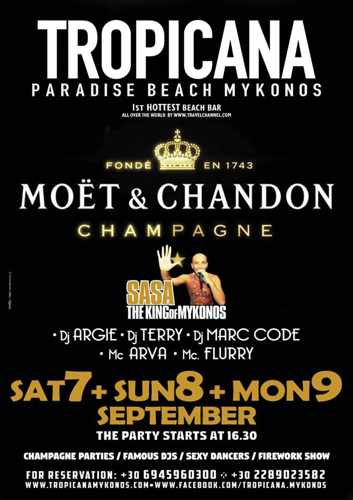 Tropicana Mykonos Moet & Chandon Champagne parties