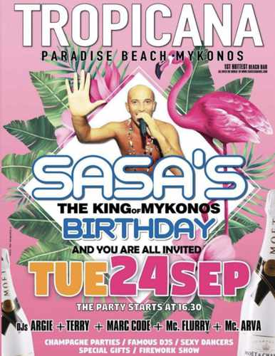 Tropicana Mykonos celebrates Sasas birthday on Tuesday September 24