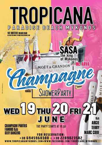 Promotional image for champagne shower parties at Tropicana club Mykonos