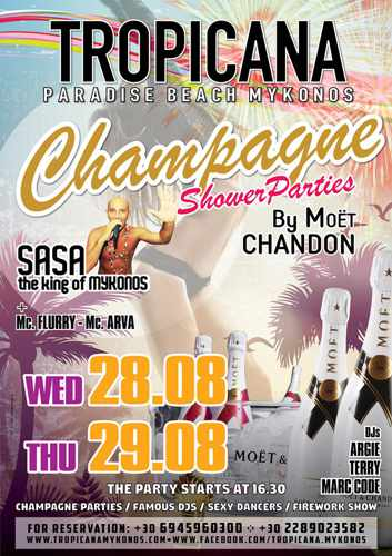 Tropicana Mykonos champagne showers parties on August 28 and 29