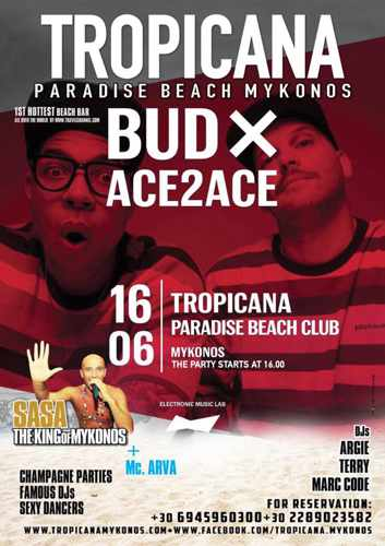 Promotional image for the BudX party with Ace2Ace at Tropicana club Mykonos
