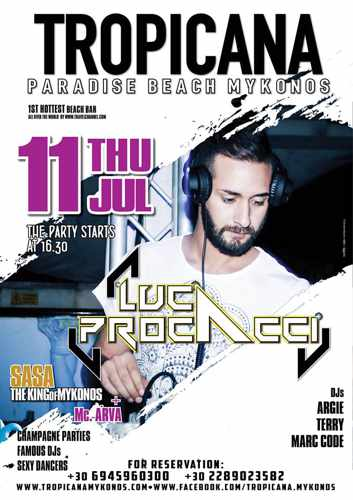 Promotional image for DJ Luca Procacci show at Tropicana Mykonos