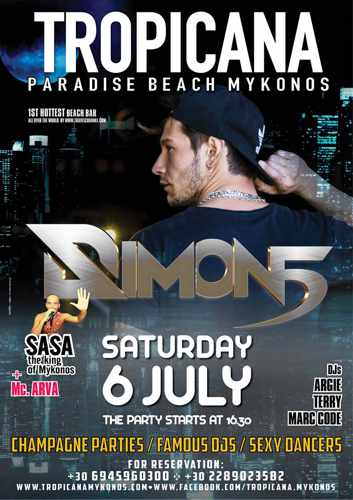 Promotional image for DJ Simon5 apperaance at Tropicana Mykonos