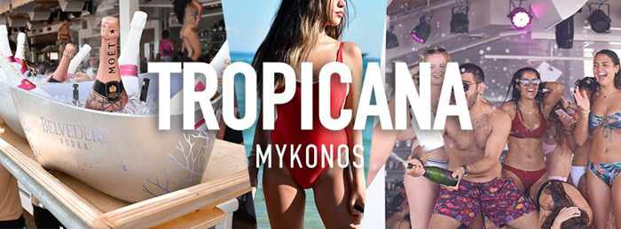 Promotional image for Tropicana beach club Mykonos