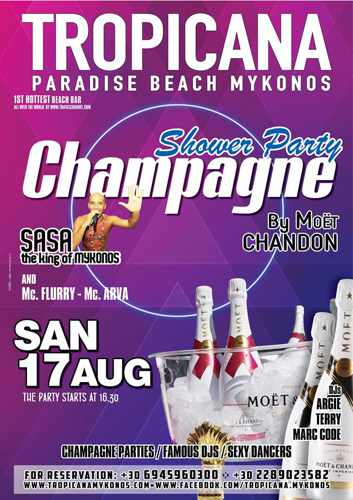 Tropicana beach club Mykonos champagne showers party on August 17