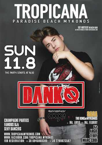 Tropicana beach club Mykonos presents DJ Danko on Sunday August 11