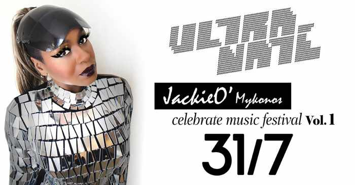 Promotional image for the Ultra Nate Celebrate Music Festival event at JackieO Beach Mykonos July 31