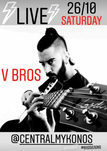 Promotional image for the VBros live rock music show at Central Mykonos on October 26