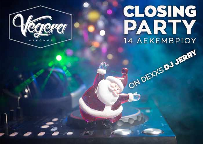 Promotional announcement for the December 14 Closing Party at Vegera Mykonos