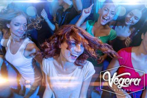 Promotional image for winter weekend parties at Vegera Mykonos
