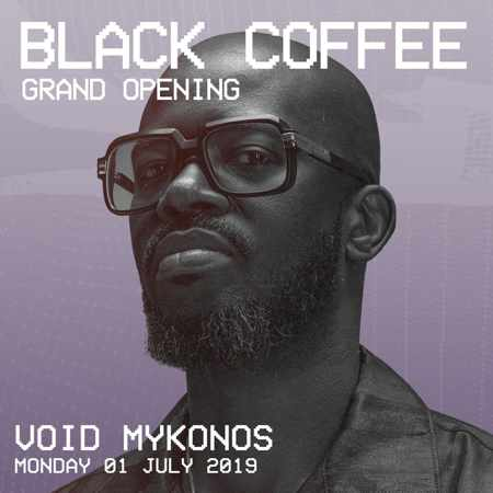Promotionalimage announcement the Void Mykonos 2019 season grand opening party with DJ Black Coffee