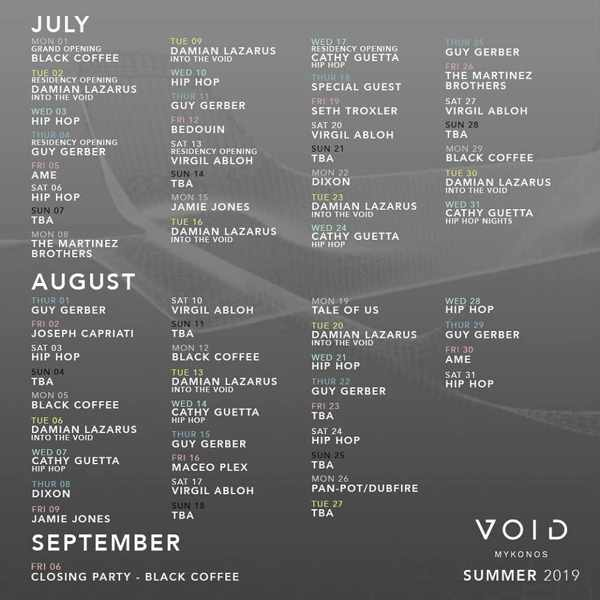2019 summer schedule for parties and DJ appearances at Void club in Mykonos