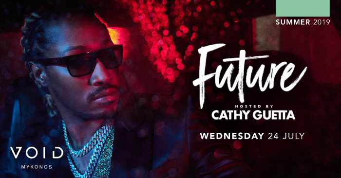 Promotional image for the appearance at Void club Mykonos by rap artist Future