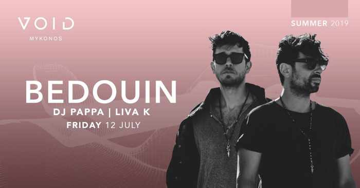 Promotional ad for Bedouin show at Void club Mykonos July 12