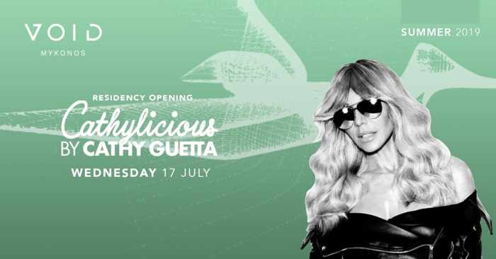 Advertisement for DJ Cathy Guetta appearance at Void club Mykonos on July 17