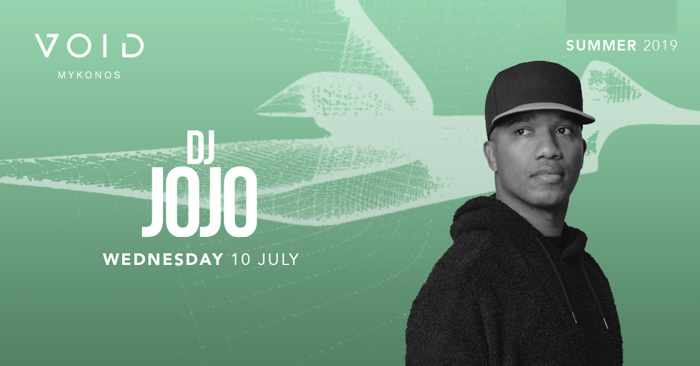Ad for DJ Jojo appearance at Void Club Mykonos on July 10