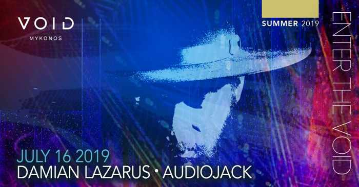 Advertisement for Damian Lazarus appearance at Void club Mykonos on July 16