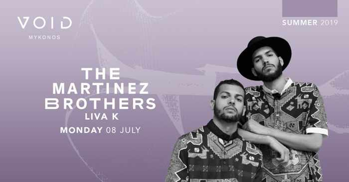 Promotional image for The Martinez Brothers show at Void club Mykonos