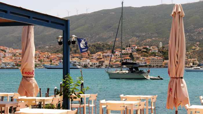 Greece, Greek island, Saronic island, Poros, Poros Greece, Poros island, taverna, Greek taverna, seaside, restaurant, White Cat Taverna Poros, O Aspros Gatos Taverna Poros,